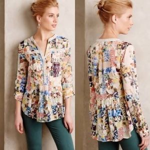 Anthro Maeve Abella Pintuck Floral print top